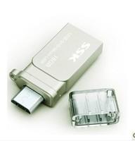 Ssk mobile phone usb flash drive 32g double plug metal usb otg mini 32gu plate