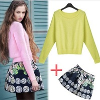 Women's boutique 2014 spring fashion rabbit fur sweater three-dimensional embossed short skirt sets