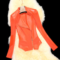 Queen 2014 spring sheepskin leather clothing women's short design genuine leather gauze slim outerwear