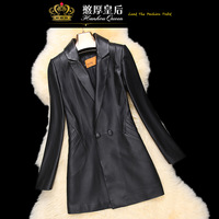 Queen 2014 spring sheepskin outerwear genuine leather clothing female medium-long slim trench