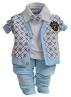 3PC baby boys outerwear+Long Sleeve T shirt+long Pants set clothing gentleman
