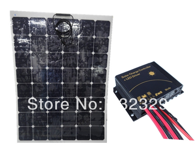 Promotion sunpower flexible solar panel 150W front side connection 12V 24V Aoto solar controller and LED