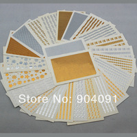 2014 NEW MIX SENT 50sheet/LOT Fashion 3D sticker Gold&Silver Lace Nail Sticker for nail art decorations+individually packaging