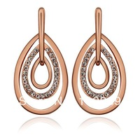 LE884 New Design Rhinestone Pave Waterdrop Link Stud Stick Earrings 18K Rose / White / Yellow Gold Plated Items Women Jewelry