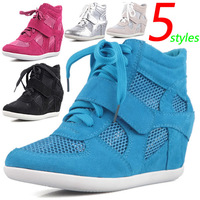 Summer Shoes Wedge Sneakers,Fabric Hollow-out,Comfortable Breathable,EU 35~39,Heel 6cm,Women`s Shoes,Drop Shipping/Free Shipping