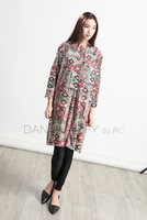 A45 spring women's loose elegant vintage cotton print one-piece dress a