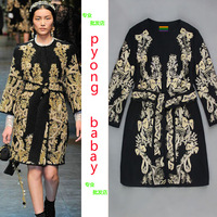 2013 autumn and winter the royal elegant wool coat gold thread embroidery o-neck outerwear thickening