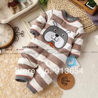 new 2014 spring autumn baby clothing baby boy rompers newborn polar fleece overall kid Long sleeve striped cartoon romper