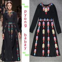 Fashion spring and summer 2014 ruslana korshunova women's national embroidery trend long design slim chiffon one-piece dress