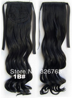 Clip in Ribbon Ponytail Hairpieces Synthetic Hair Tail Curly Ponytail Hair Drawstring Ponytail Extensions Wigs Hair 1B Black