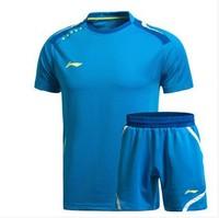 Free shipping 2014 LI-Ning Sports Leisure  Badminton Men's Shirt Tennis Clothes Shirt+shorts YUE2