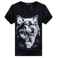 Super Cool !Hot Sale! Size S-M-LXL-XXL-3XL-4XL,Unique Fashion Men's Short Sleeve Cotton T-Shirt, 3 d Wolf king's head