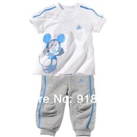 new arrive Special offers children's set girls and boys set 100% cotton short sleeve t-shirt+pants sport suit Minnie clothes
