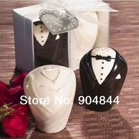 200pcs=100sets Bride&Groom Ceramic Salt & Pepper Shaker wedding favors and gifts souvenirs for guest