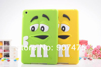 Kids 3D Cute cartoon M&M chocolate bean candy rubber silicone cases covers for ipad 2/3/4