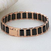 Top quality titanium steel Rose gold plated  black space Ceramic men bracelet bangle WS441