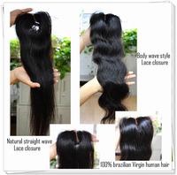 """Haifair queen hair products 4""""x4"""" Swiss lace top closure virgin natural black brazilian hair 1pc per lot free shipping"""