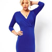 2014 three quarter sleeve midguts V-neck pencil slim fashion one-piece dress