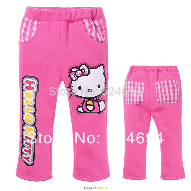 Bargain price new 2014 winter pants girls children pants kids trousers hello kitty pants girls warm pants(China (Mainland))