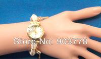 30pcs/lot Freeshipping  fashion design women's multi-pedant of lock,key,crystal bracelet watch,with Korea imported rope band