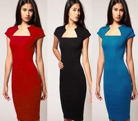 Hot-selling fashion dress slit neckline slim hip full body elegant vintage summer dress basic office working dress