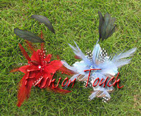 Free shipping!4'' feather flowers brooch pin hair alligator clip 6pcs/Lot