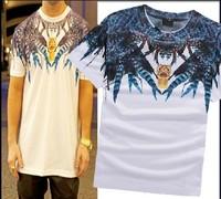 Marcelo Burlon feather 2014 summer men's short sleeve shirt fashion Round neck t-shirt cotton casual tshirt hiphop tshirt FS126