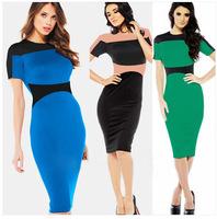 New 2014 Summer Design Elegant Stylish Vintage Cocktail Sheath Women Dress Knee Length Casual Pencil Bodycon Dress S-XL