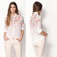 2014 summer bershka fashion gradient flower print long-sleeve chiffon shirt female