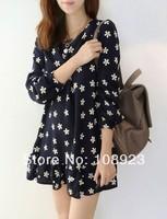 Cute girls free shipping floral print long sleeve chiffon dress for pregnant women a9059