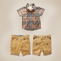 New 2014 Plaid Boys Summer Clothing Set Cotton Brand T-shirts + Boy Shorts Sports Suit Set for Boys Casual Child Clothing Sets