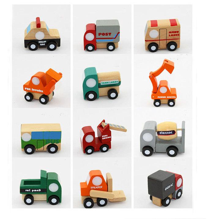 Free shipping,New Arrival Children Education Wooden Toys Mini Cars Wood Car 12pcs/lot wooden car, mini car model HT155(China (Mainland))