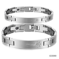 Wholesale jewelry Newest pure titanium steel sun couple bracelet bangle with CZ care health for men and women TS3080