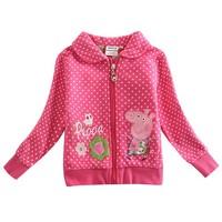 lovely peppa pig jacket 2014 fashion nova kids beautiful cartoon and flowers zipper baby girls cotton causal hoody jacket F4298#