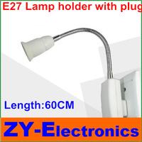 3pcs/lot E27 led lamp holder(Length:60cm)LED Light Lamp Bulb socket Adapter Converter Holder with Extend hose plug Free shipping