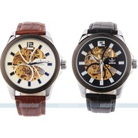 New fashion automatic mechanical watch skeleton leather strap Free shipping two colors to choose