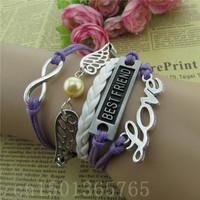 Free shipping 2014 best-selling hand-woven bracelet Angel wings of LOVE BEST FRIEND of eight leather cord bracelet