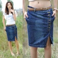 Women Summer Fashion New Button Decorated Plus size Denim Design Slim Split Jean Skirt Blue