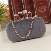 Women's bags 2014 women's skull ring knuckle plush handbag vintage clutch chain evening bag free shipping