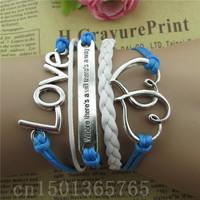 Free shipping 2014 best-selling European and American fashion woven bracelet double heart LOVE style bracelet