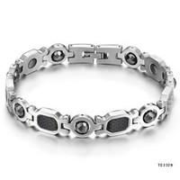 Top quality 316L titanium steel Black magnets care health Men's bracelet bangle 21cm length TS3328