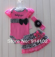 2014 New Girls summer sets Baby 3 Piece Suits short Romper +Tutu Skirt + Headband infant fashion zebra clothing sets