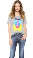 New 2014 Bright Color Printing Short-Sleeved Women T-Shirts Baboons Light Gray T Shirt Plus Size T Shirts HDY-15