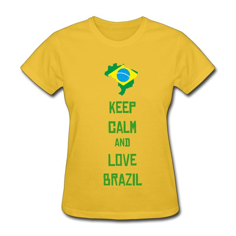 Good Quality O-Neck T-Shirt Woman 2014 Football Brazil map and flag ...
