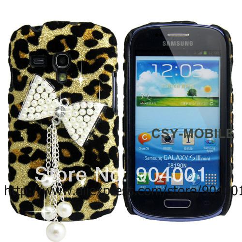 Glitter Diamond Bow Leopard Luxury hard Back case for samsung galaxy s3,galaxy s4, galaxy s3mini Glitter bling case for girls(China (Mainland))