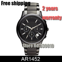 New Mens Chronograph Black Ceramic Watch AR1452 1452 Gents Wristwatch Men Sports Watches Fashion Military Watch + Original Box