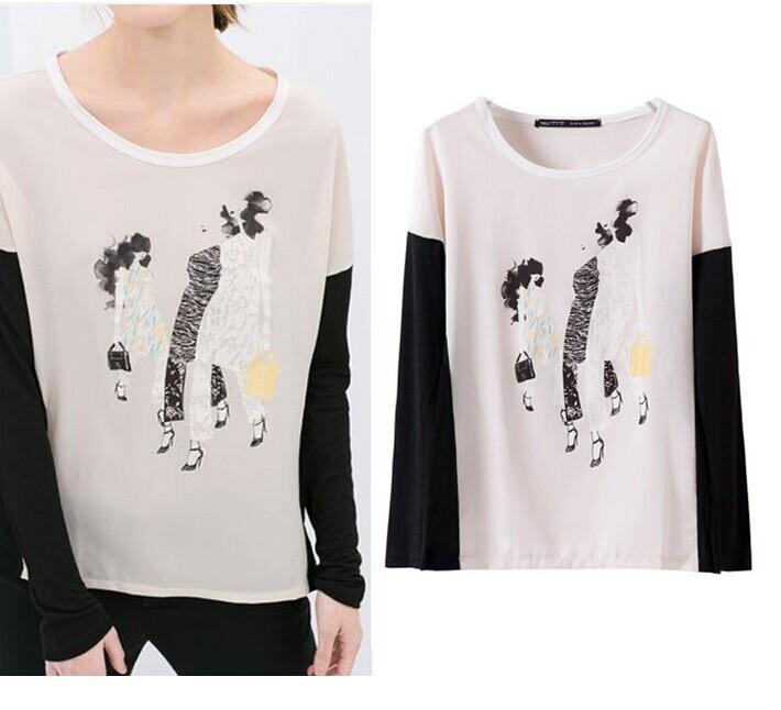 Summer New Designer Women Girl Hand Drawing Graffiti Black&White Patchwork Long Sleeve Chiffon Blouse Cute Tops Loose Casual Top(China (Mainland))