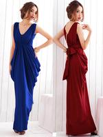 Fashion normic design long evening dress banquet 2013 women's sexy V-neck sleeveless one-piece dress evening dress