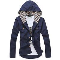 Men hoodies sweatshirt warm men coat Spring and Autumn Plaid pattern Hooded jacket free shipping 8 colors select men cheap price