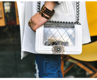 2014 fashion classic 2.55 chain transparent Shoulder Bag, Plaid jelly leather women's handbag,Brand messenger bag
